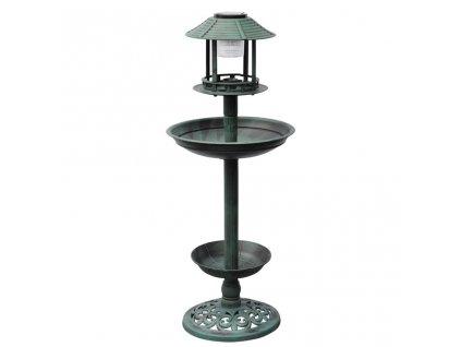 Krmítko a koupel pro ptáky se solárním osvětlením