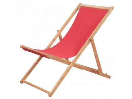 Skládací plážové křeslo látka a dřevěný rám červené
