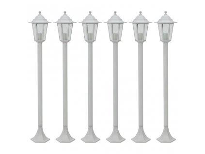Zahradní sloupové lampy 6 ks E27 110 cm hliníkové bílé