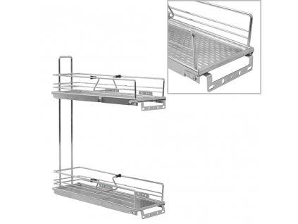2patrový výsuvný kuchyňský drátěný koš stříbrný 47 x 15 x 54,5 cm