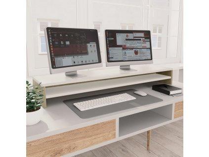 Stojan na monitor bílý a dub sonoma 100x24x13 cm dřevotříska