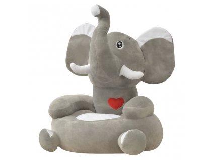 Plyšové dětské křeslo slon šedý