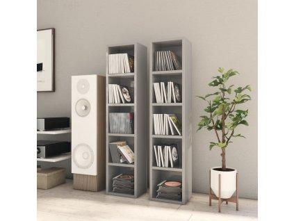 Skříňky na CD 2 ks šedé vysoký lesk 21x16x93,5 cm dřevotříska