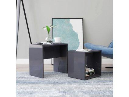 Set konferenčních stolků šedý vysoký lesk 48x30x45 dřevotříska