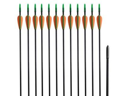 """Šípy pro standardní recurve luk, 30"""", 0,6 cm, sklolaminátové, 12 ks"""