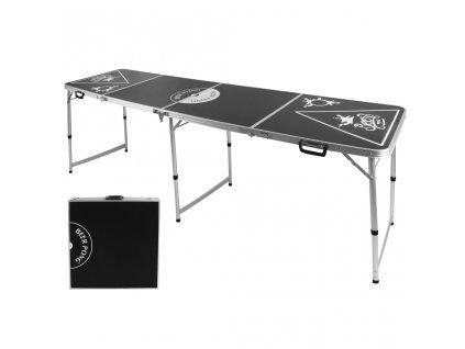 HI Skládací stůl na beer pong výškově nastavitelný černý