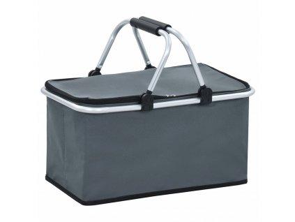 Skádací chladící taška šedá 46 x 27 x 23 cm hliník