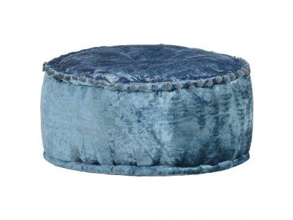 Kulatý taburet samet 40 x 20 cm modrý