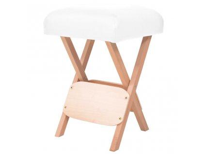 Skládací masážní stolička s 12 cm silným sedákem bílá