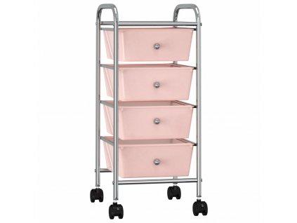 Mobilní úložný vozík se 4 zásuvkami růžový plastový