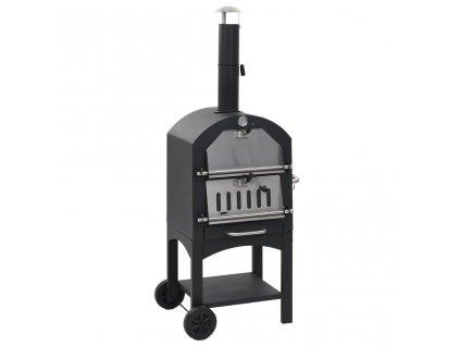 Venkovní pec na pizzu na dřevěné uhlí s kamenem