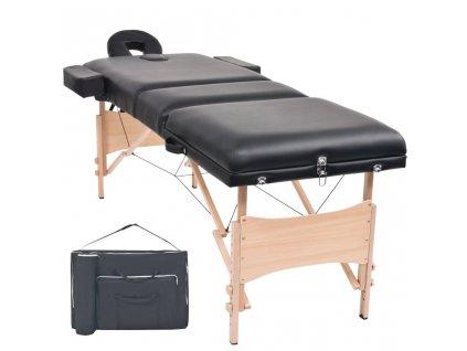 3zónový skládací masážní stůl 10 cm silný černý