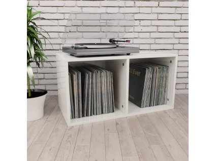 Úložný box na LP desky bílý vysoký lesk 71x34x36 cm dřevotříska