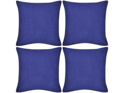 4 modré povlaky na polštářky bavlna 50 x 50 cm