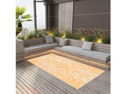 Venkovní koberec oranžový a bílý 80 x 150 cm PP
