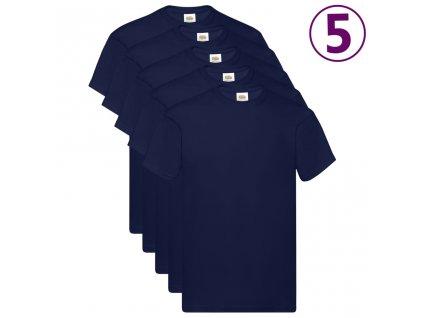 Fruit of the Loom Originální trička 5 ks námořnicky modrá M bavlna