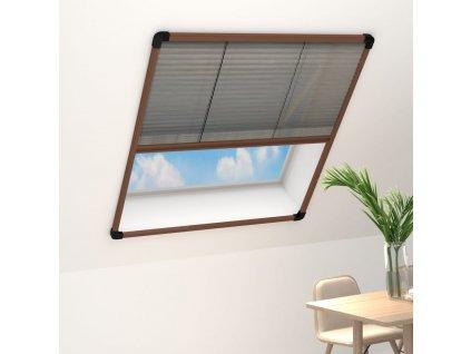Plisovaná okenní síť proti hmyzu hliník hnědá 100 x 160 cm