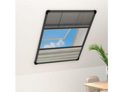 Plisovaná okenní síť proti hmyzu se zástěnou hliník 80 x 120 cm