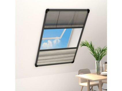 Plisovaná okenní síť proti hmyzu se zástěnou hliník 110x160 cm
