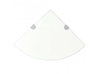 Rohová police s chromovými podpěrami sklo čiré 25x25 cm