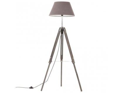 Stojací lampa stativ šedá masivní teakové dřevo 141 cm
