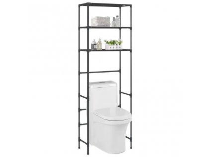 3patrový úložný regál nad WC černý 53 x 28 x 169 cm