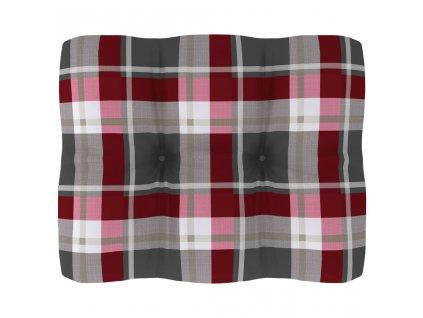 Poduška na pohovku z palet červená károvaná 50 x 40 x 12 cm