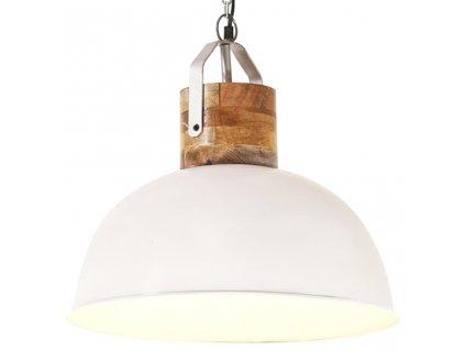 Industriální závěsné svítidlo bílé kulaté 42 cm E27 mangovník