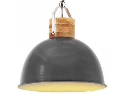 Industriální závěsné svítidlo šedé kulaté 51 cm E27 mangovník