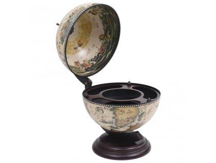 Stolní globus bar stojan na víno eukalyptové dřevo bílý
