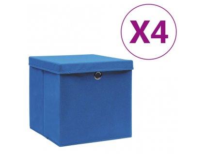 Úložné boxy s víky 4 ks 28 x 28 x 28 cm modré