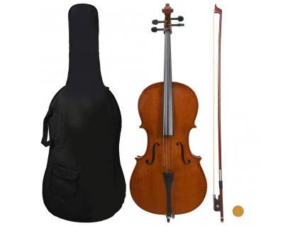 Cello set s obalem a smyčcem z přírodních žíní tmavé dřevo 4/4