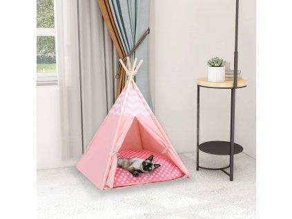 Kočičí týpí s úložnou taškou peachskin PE růžové 60x60x70 cm