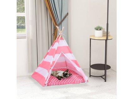Kočičí týpí s úložnou taškou peachskin proužky 60 x 60 x 70 cm