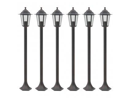 Zahradní sloupové lampy 6 ks E27 110 cm hliníkové bronzové