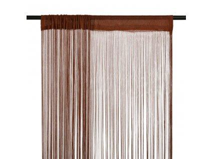 Provázkové záclony, 2 ks, 140x250 cm, hnědá
