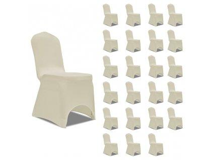 Potahy na židle napínací krémové 24 ks