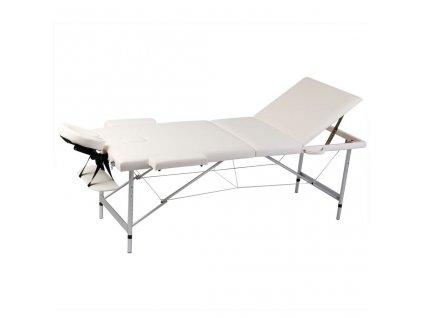 Krémově bílý skládací masážní stůl se 3 zónami a hliníkovým rámem
