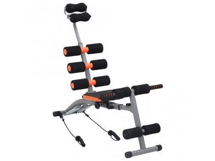 Posilovač břišních svalů ve tvaru L s elastickými popruhy