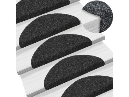 Samolepící nášlapy na schody 5 ks černé 54x16x4 cm vpichované