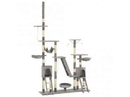 Škrabadlo pro kočky se sisalovými sloupky 230–250 cm šedé