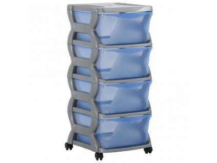 Skříňka se zásuvkami na kolečkách 36 x 40 x 80 cm šedá a modrá