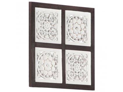 Ručně vyřezávaný nástěnný panel MDF 40x40x1,5 cm hnědý a bílý