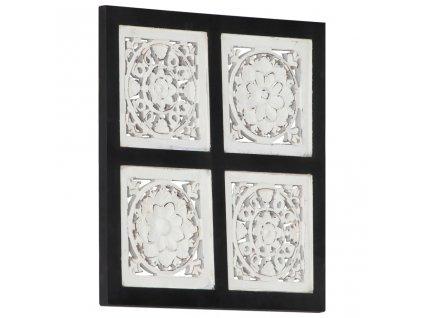 Ručně vyřezávaný nástěnný panel MDF 40x40x1,5 cm černý a bílý