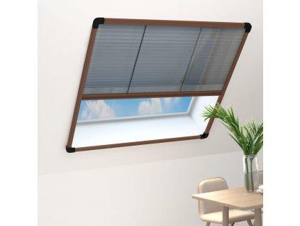 Plisovaná okenní síť proti hmyzu hliník hnědá 120 x 160 cm