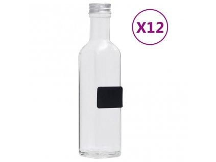 Skleněné láhve se šroubovým uzávěrem 12 ks čtvercové 250 ml