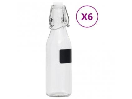 Skleněná láhev s pákovým uzávěrem 6 ks kulatá 250 ml