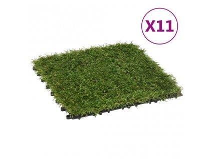 Dlaždice s umělou trávou 11 ks zelené 30 x 30 cm