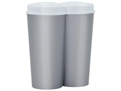Dvojitý odpadkový koš stříbrný a bílý 50 l