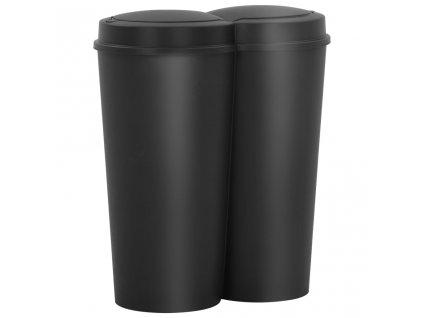 Dvojitý odpadkový koš černý 50 l